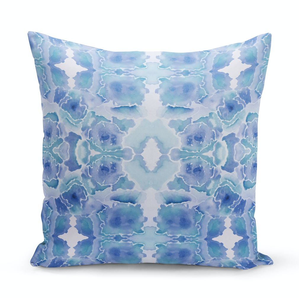 Blue Splatter Quadrant Pillow