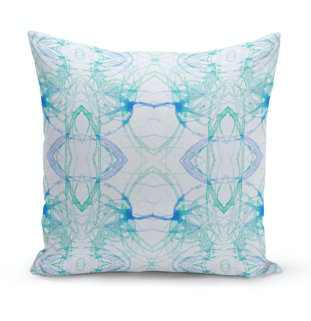 Aqua Watercolor Sketch Pillow