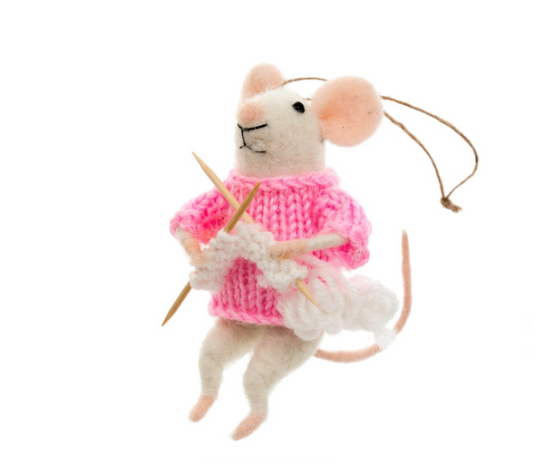 Knitting Mouse Ornament