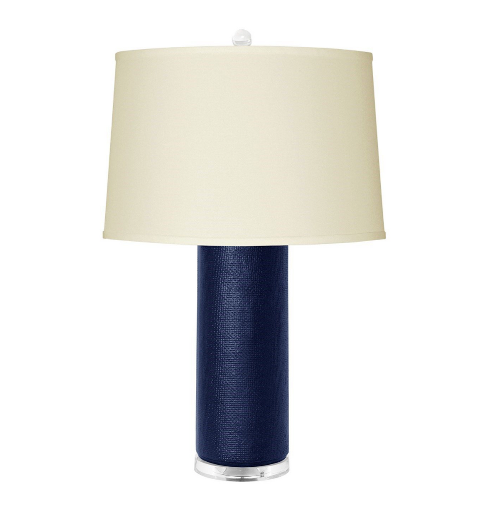 Navy Linen Textured Lamp