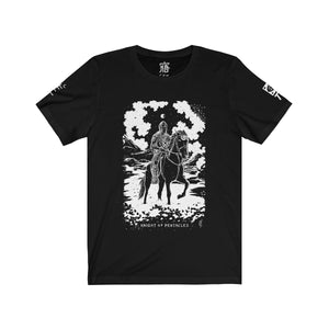 Open image in slideshow, 'Knight of Pentacles' Shadow Light Tarot Card Art on Unisex Jersey Tee