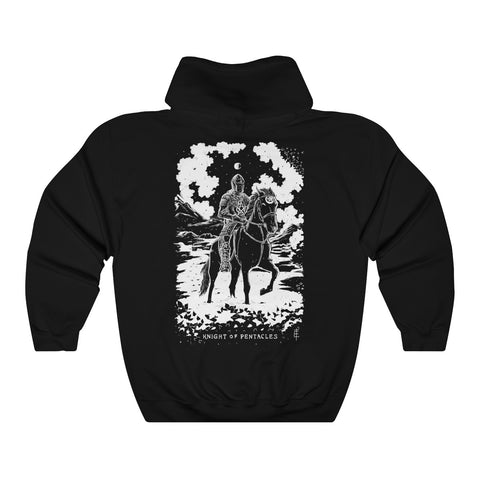 'Knight of Pentacles' Shadow Light Tarot Card Art on Unisex Heavy Hooded Sweatshirt