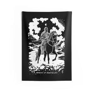 Open image in slideshow, Shadow Light Tarot Card 'Knight of Pentacles' Indoor Wall Tapestry by Waking Canvas (3 Sizes)