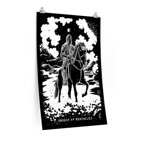 'Knight of Pentacles' Shadow Light Tarot Card Art Poster on Premium Matte Paper