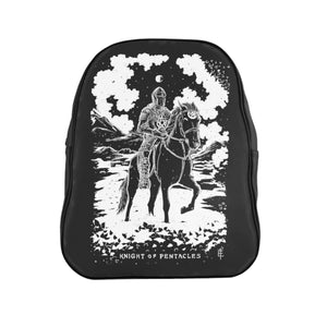 Open image in slideshow, 'Knight of Pentacles' Shadow Light Tarot Card on Custom Single-Zip Occult-Black Backpack