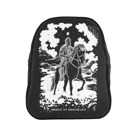 'Knight of Pentacles' Shadow Light Tarot Card on Custom Single-Zip Occult-Black Backpack