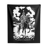 Shadow Light Tarot Card 'Knight of Pentacles' Indoor Wall Tapestry by Waking Canvas (3 Sizes)