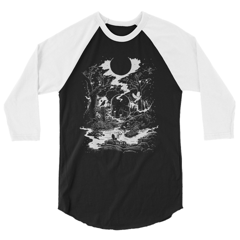 'DEATH TAROT CARD' 3/4 sleeve raglan shirt