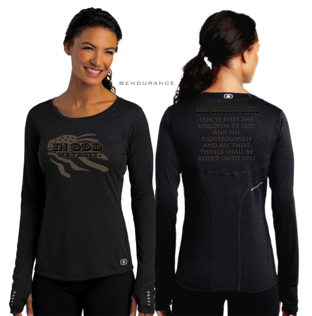 LADIES IN GOD WE TRUST OGIO LONG SLEEVE TEE