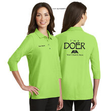 Load image into Gallery viewer, LADIES I'M A DOER 3/4 SLEEVE SILK TOUCH POLO
