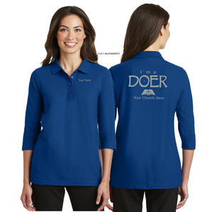 LADIES I'M A DOER 3/4 SLEEVE SILK TOUCH POLO
