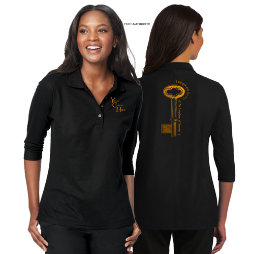 LADIES KEYS TO the KINGDOM 3/4 SLEEVE SILK TOUCH POLO