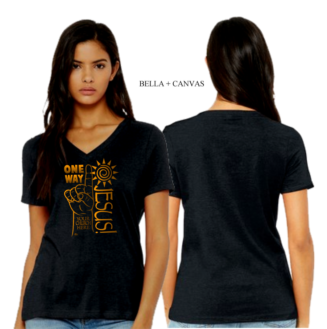 LADIES ONE WAY JESUS VNECK TEE