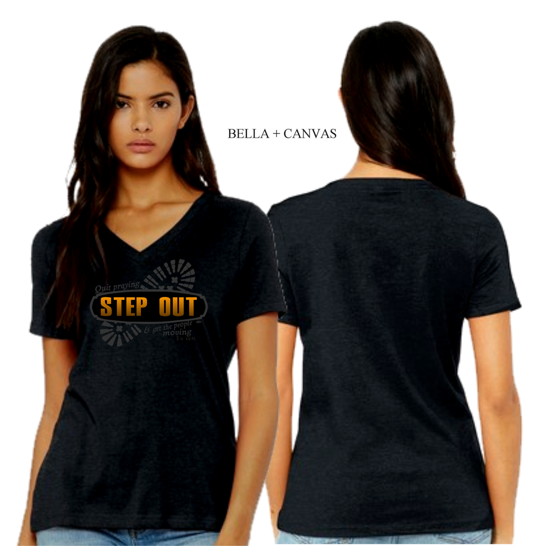 LADIES STEP OUT VNECK TEE