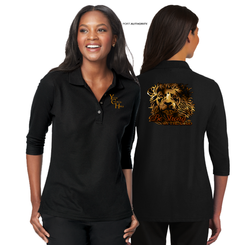 LADIES BE STRONG 3/4 SLEEVE SILK TOUCH POLO