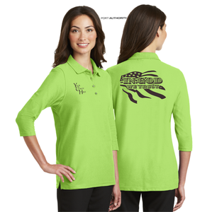 LADIES IN GOD WE TRUST 3/4 SLEEVE SILK TOUCH POLO