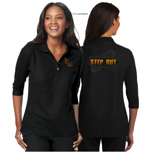 LADIES STEP OUT 3/4 SLEEVE SILK TOUCH POLO