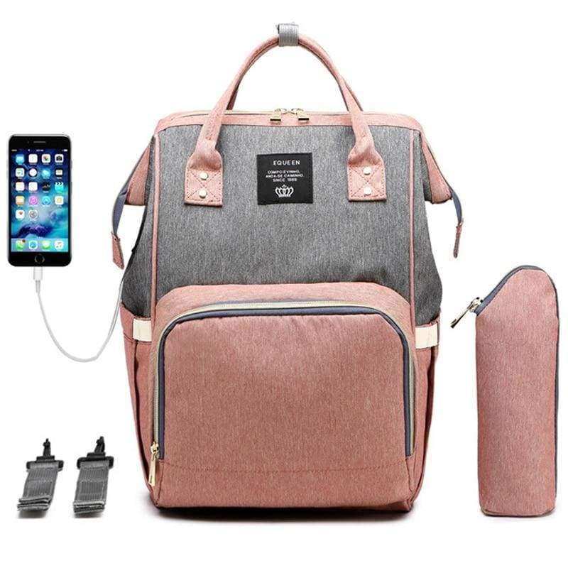 Blu's Baby Boutique Pink Gray Diaper Bag Backpack with USB Children Store Toddler Newborn Child Infant Baby Kids Online Store