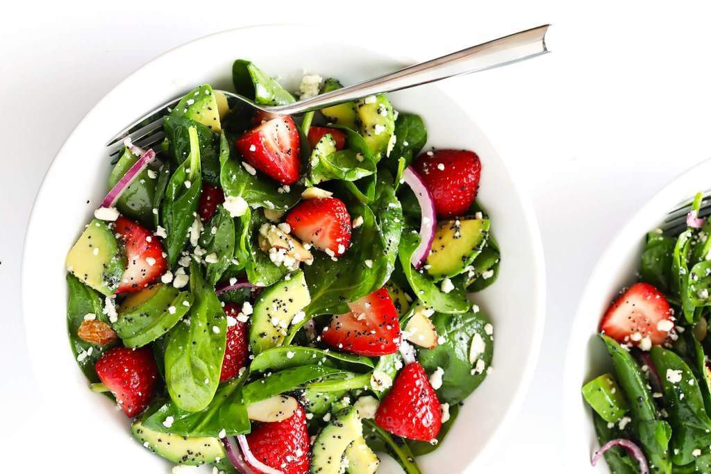 Strawberry Avocado Spinach Salad