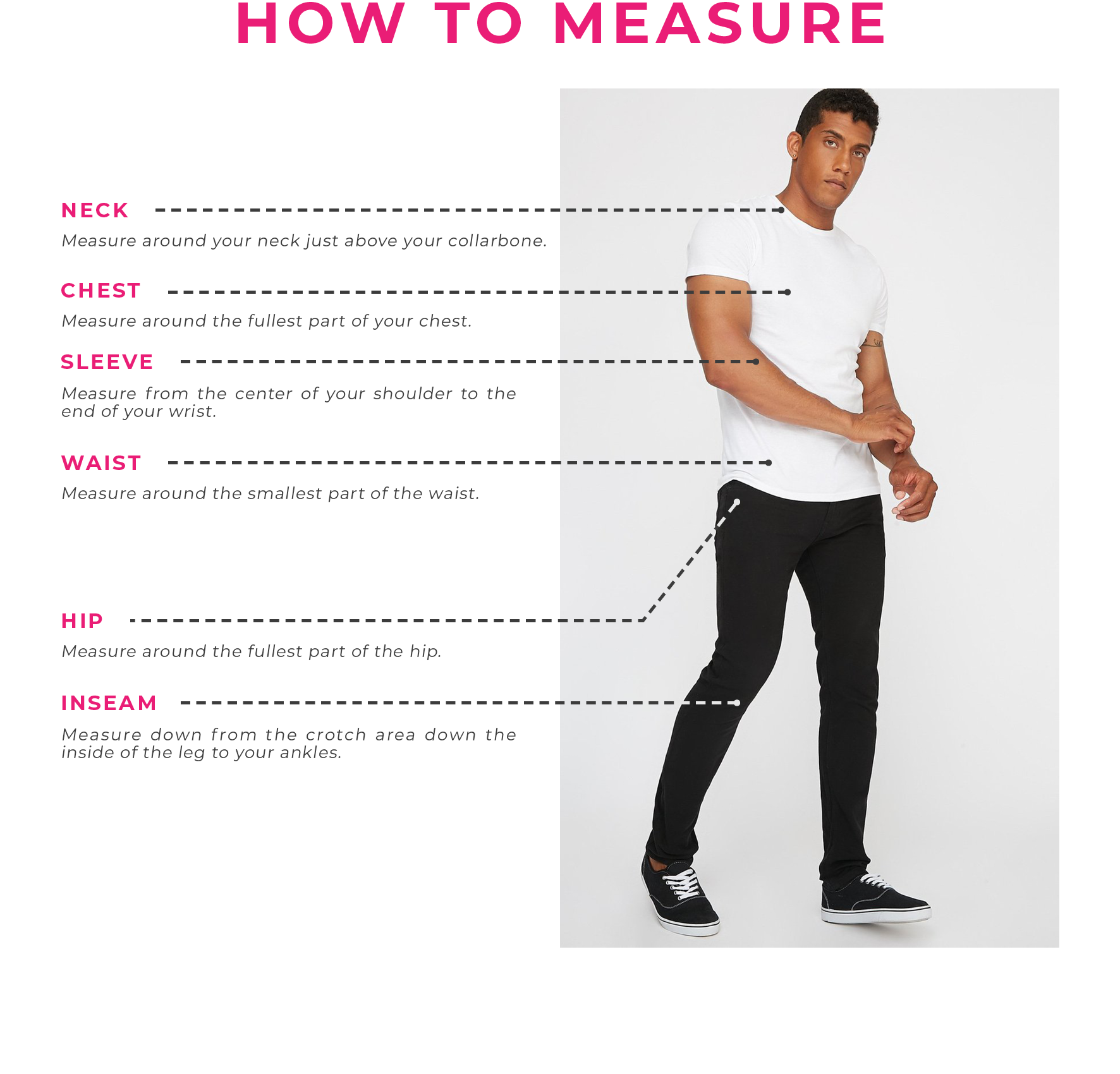 Charlotte Russe | Mens Size Guide - How To Measure