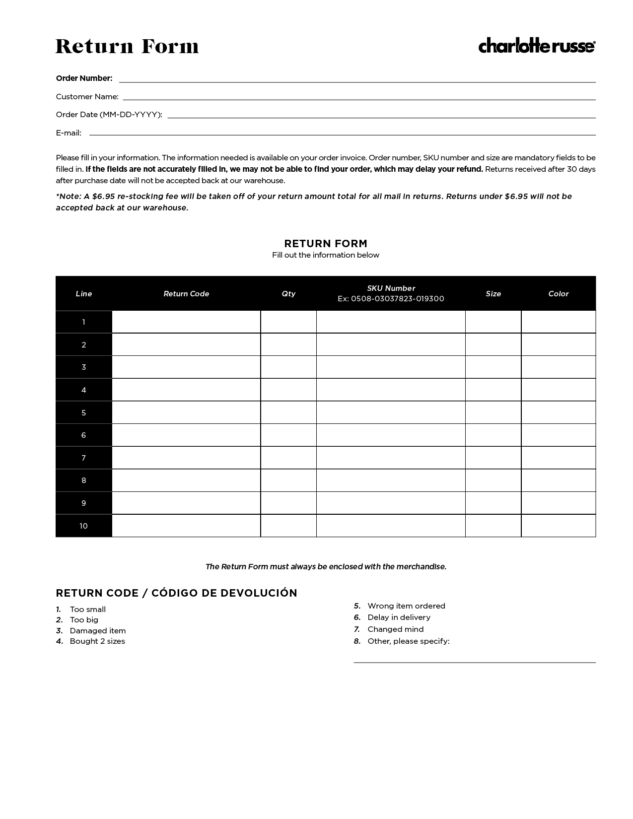 Charlotte Russe - Return Form