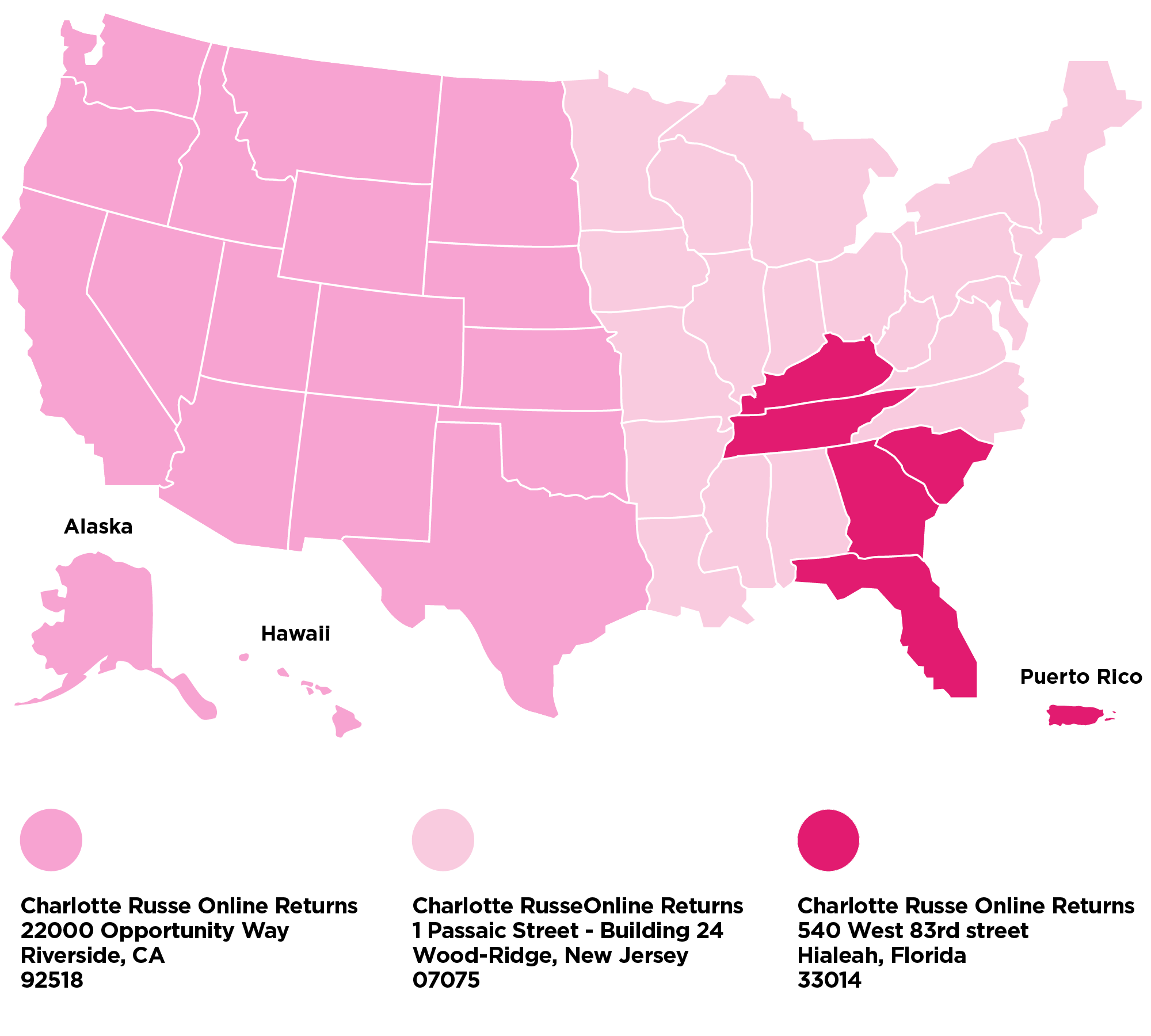 Charlotte Russe - Return Policy Map