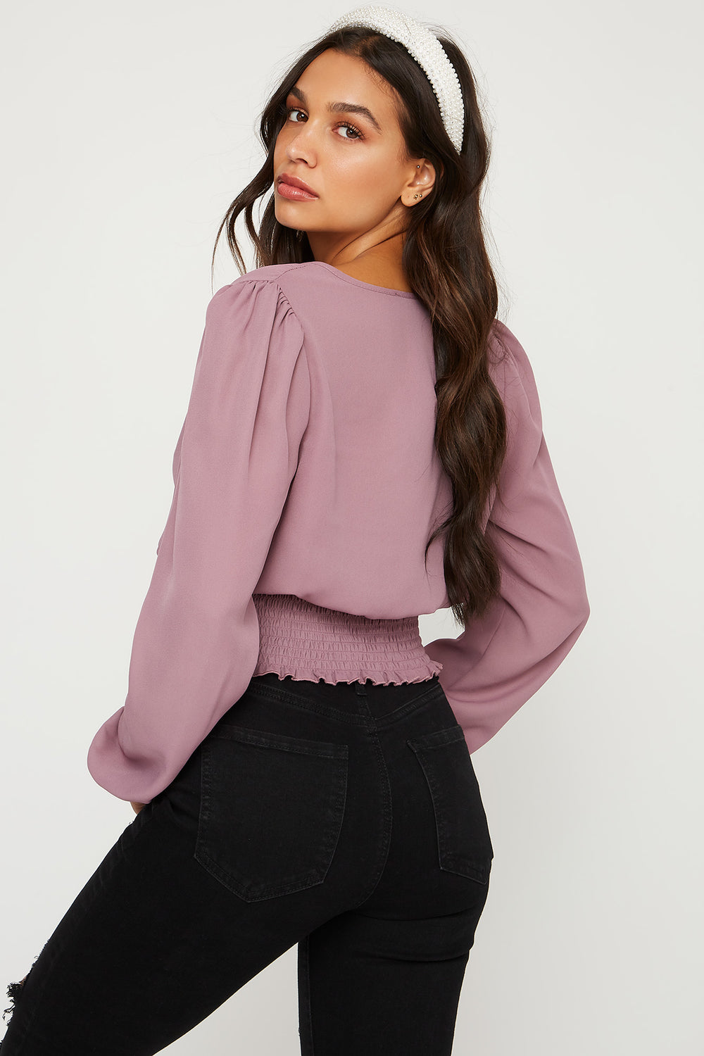 Smocked V-Neck Cropped Puff Sleeve Top Lilac