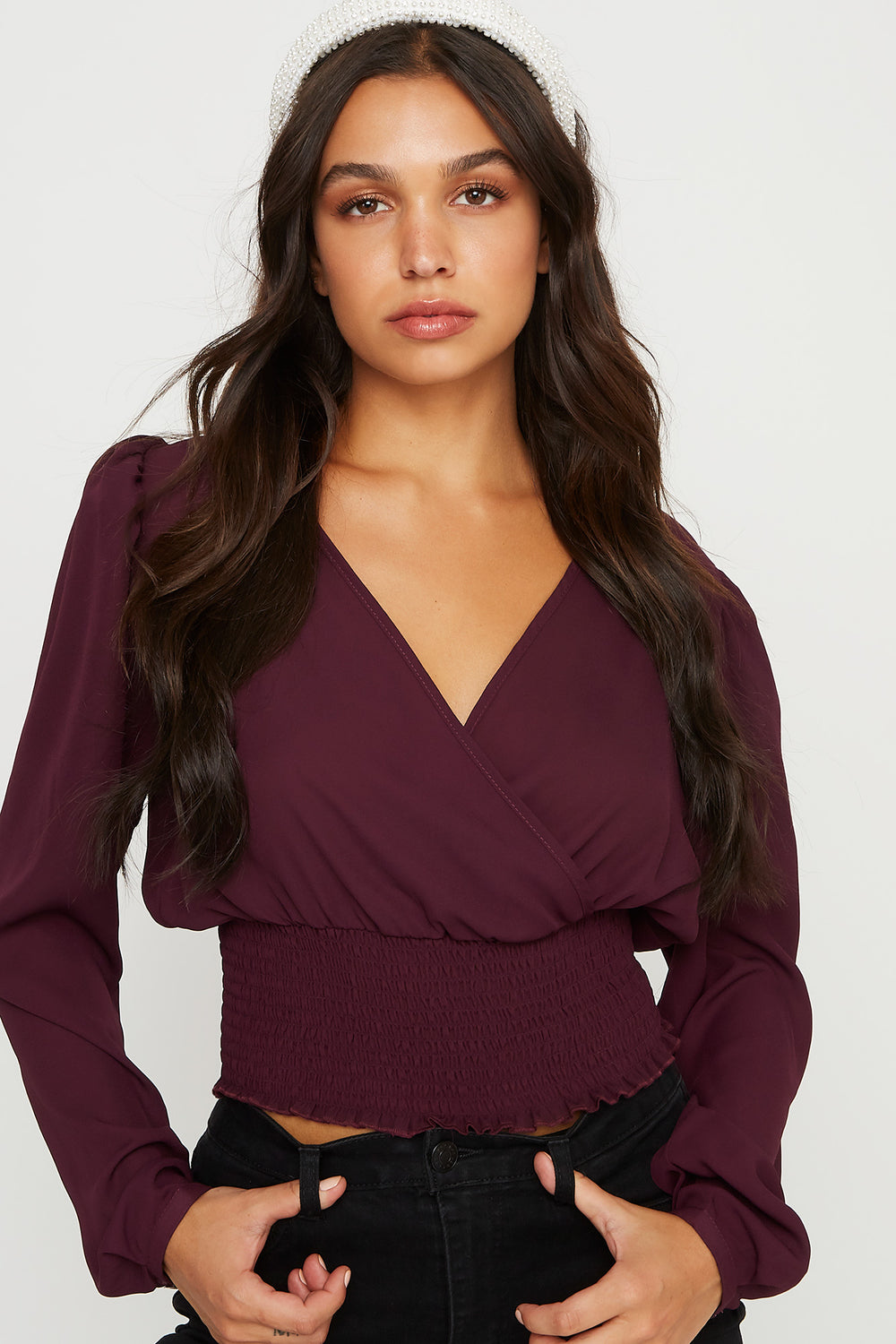 Smocked V-Neck Cropped Puff Sleeve Top Eggplant