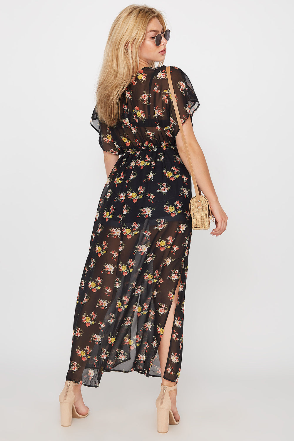 Sheer Floral Self-Tie Longline Side Slit Kimono Black