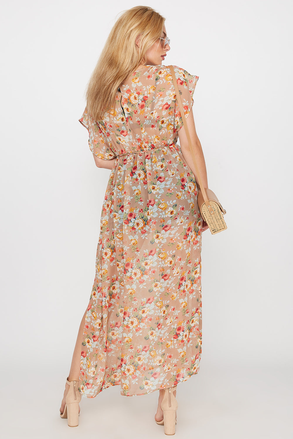 Sheer Floral Self-Tie Longline Side Slit Kimono Assorted