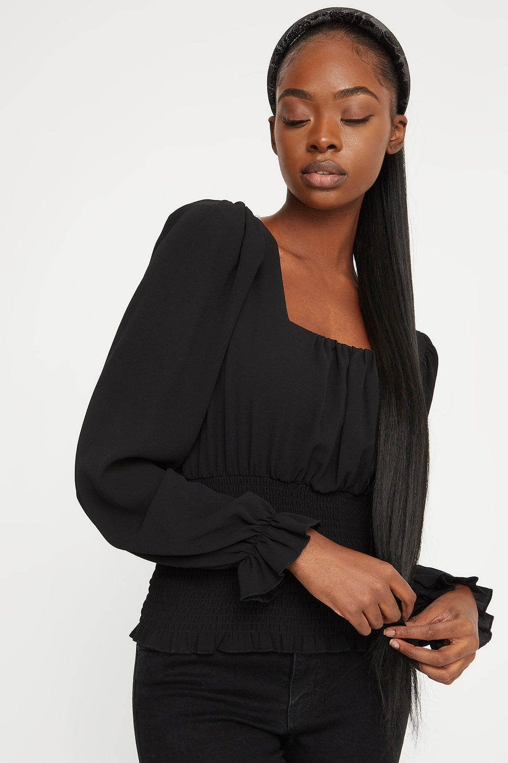 Smocked Square Neck Puff Sleeve Blouse Black