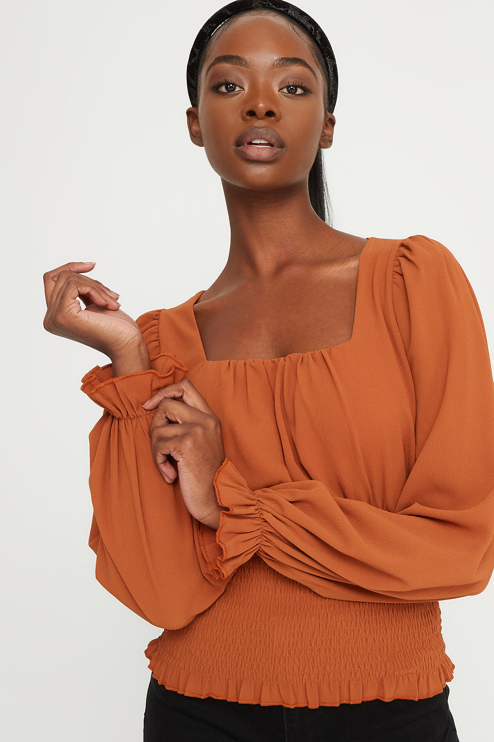 Smocked Square Neck Puff Sleeve Blouse Camel