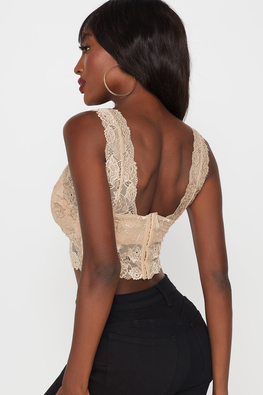 Lace V-Neck Cropped Bralette Taupe