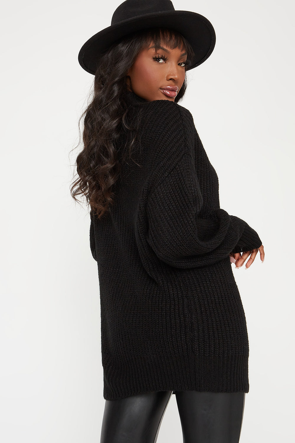 Knit Mock Neck Bubble Sleeve Sweater Black