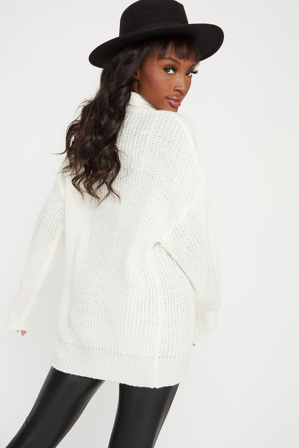 Knit Mock Neck Bubble Sleeve Sweater Ivory