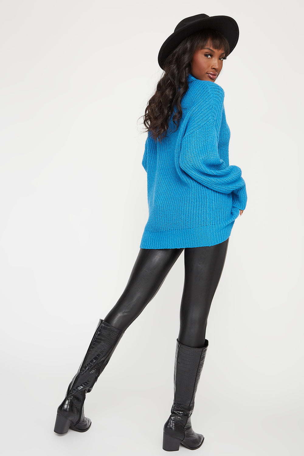 Knit Mock Neck Bubble Sleeve Sweater Blue