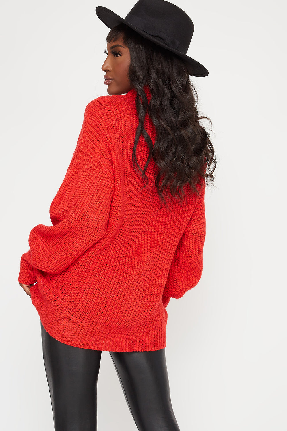 Knit Mock Neck Bubble Sleeve Sweater Red