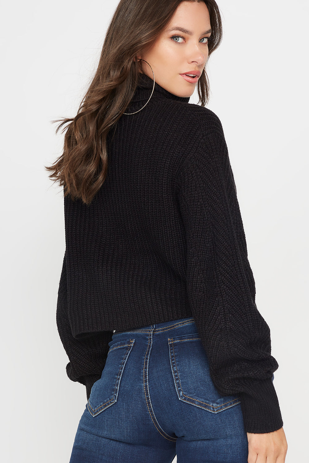 Ribbed Turtleneck Cropped Sweater Plaid