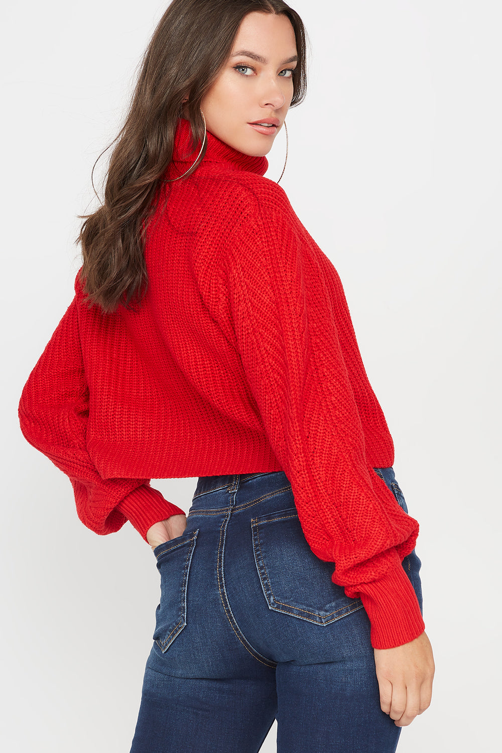 Ribbed Turtleneck Cropped Sweater Red