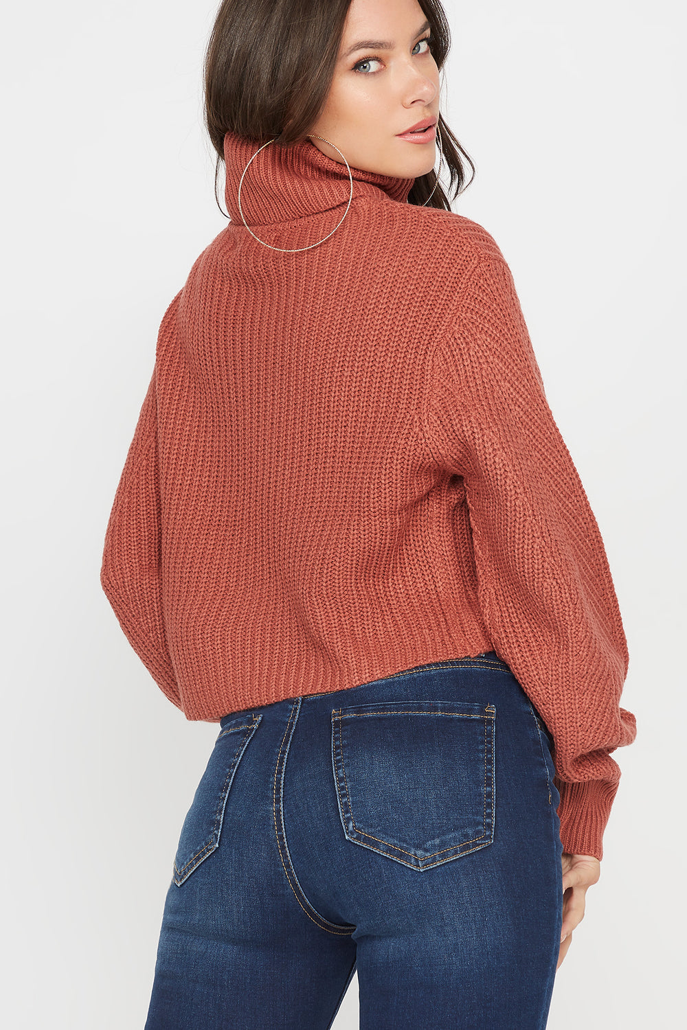 Ribbed Turtleneck Cropped Sweater Rose