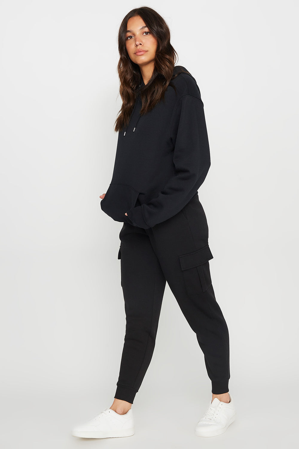 Fleece High-Rise Cargo Pocket Jogger Black