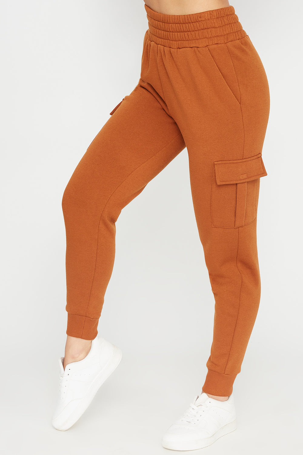 Fleece High-Rise Cargo Pocket Jogger Camel