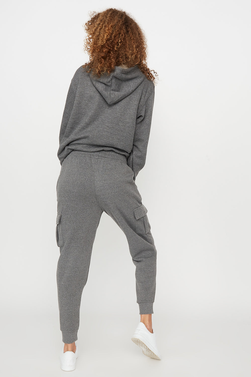 Fleece High-Rise Cargo Pocket Jogger Dark Grey