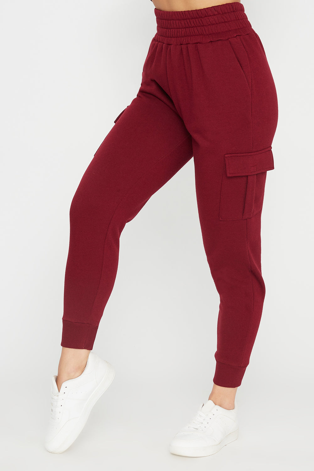 Fleece High-Rise Cargo Pocket Jogger Burgundy