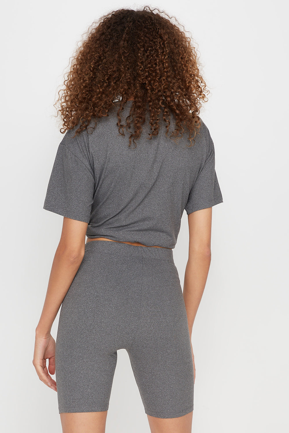 High-Rise Biker Short Heather Grey