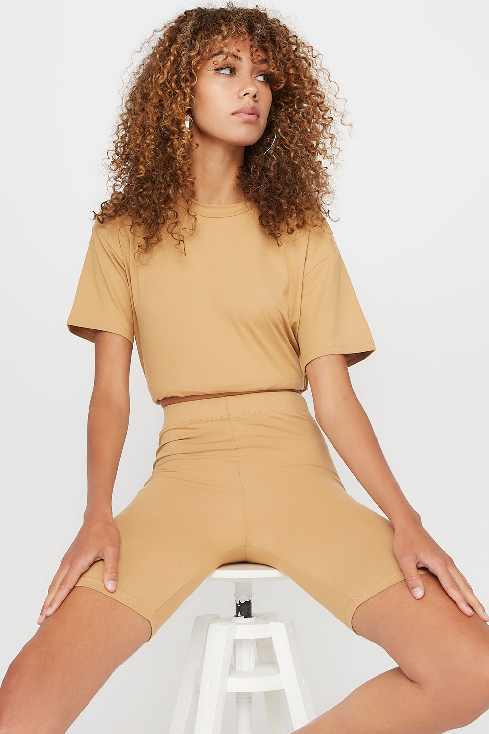 High-Rise Biker Short Camel