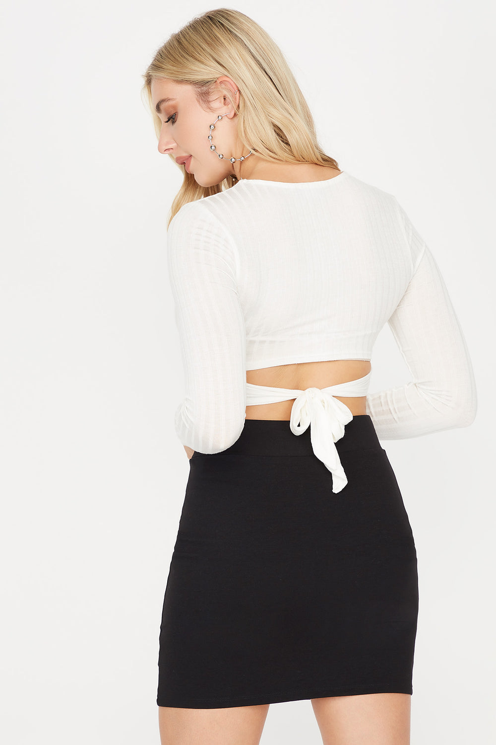 Ribbed Crew Neck Wrap Front Tie Waist Long Sleeve Cropped Top Ivory
