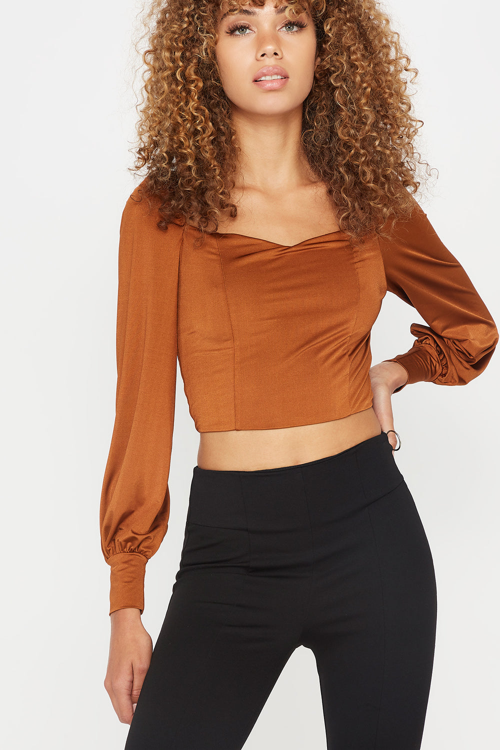 Sweetheart Neck Cropped Long Sleeve Top Camel