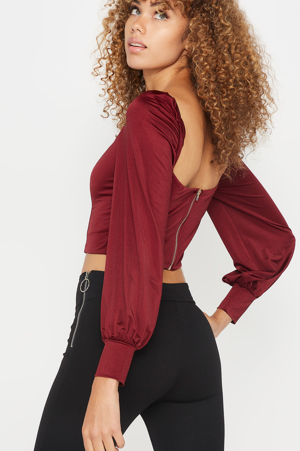 Sweetheart Neck Cropped Long Sleeve Top Burgundy