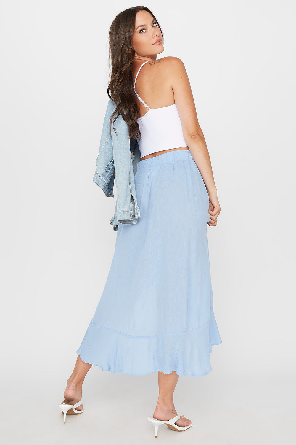Crinkle High-Low Ruffle Trim Maxi Skirt Blue